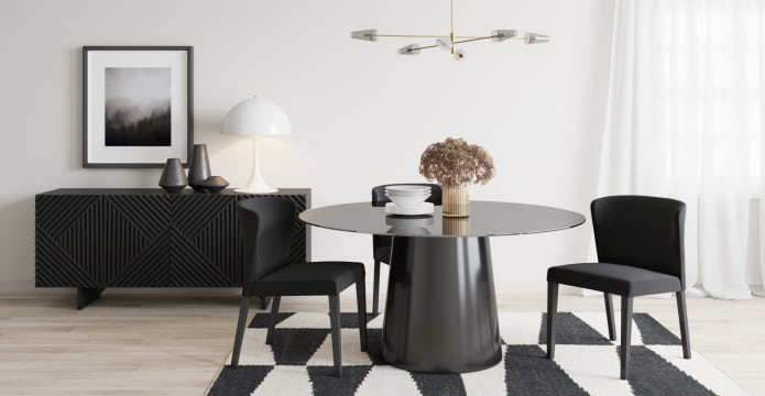 Kreis Glass Top Round Dining Table 150cm