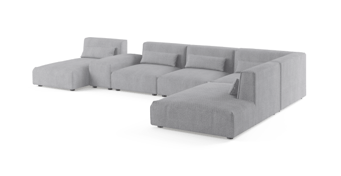 Drake 6 Seater Modular Sofa with Chaise and Ottoman