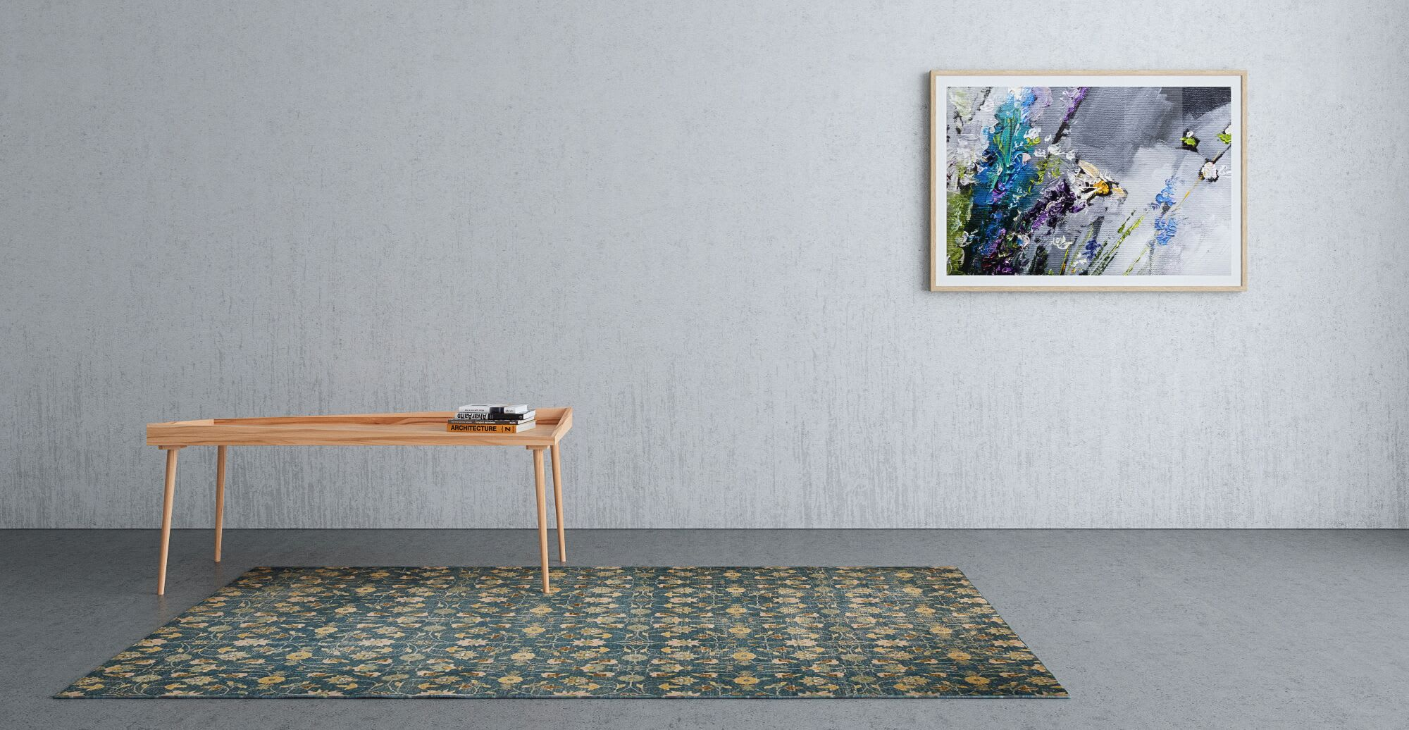 An area rug in a designed hallway