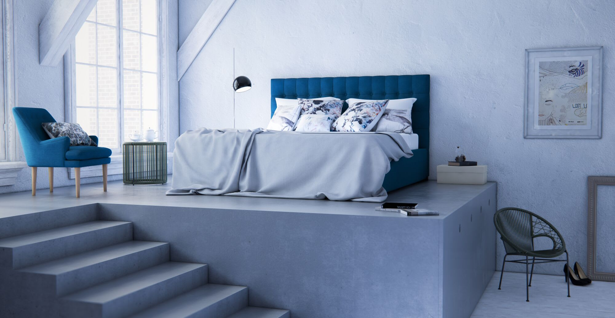 a blue themed bedroom
