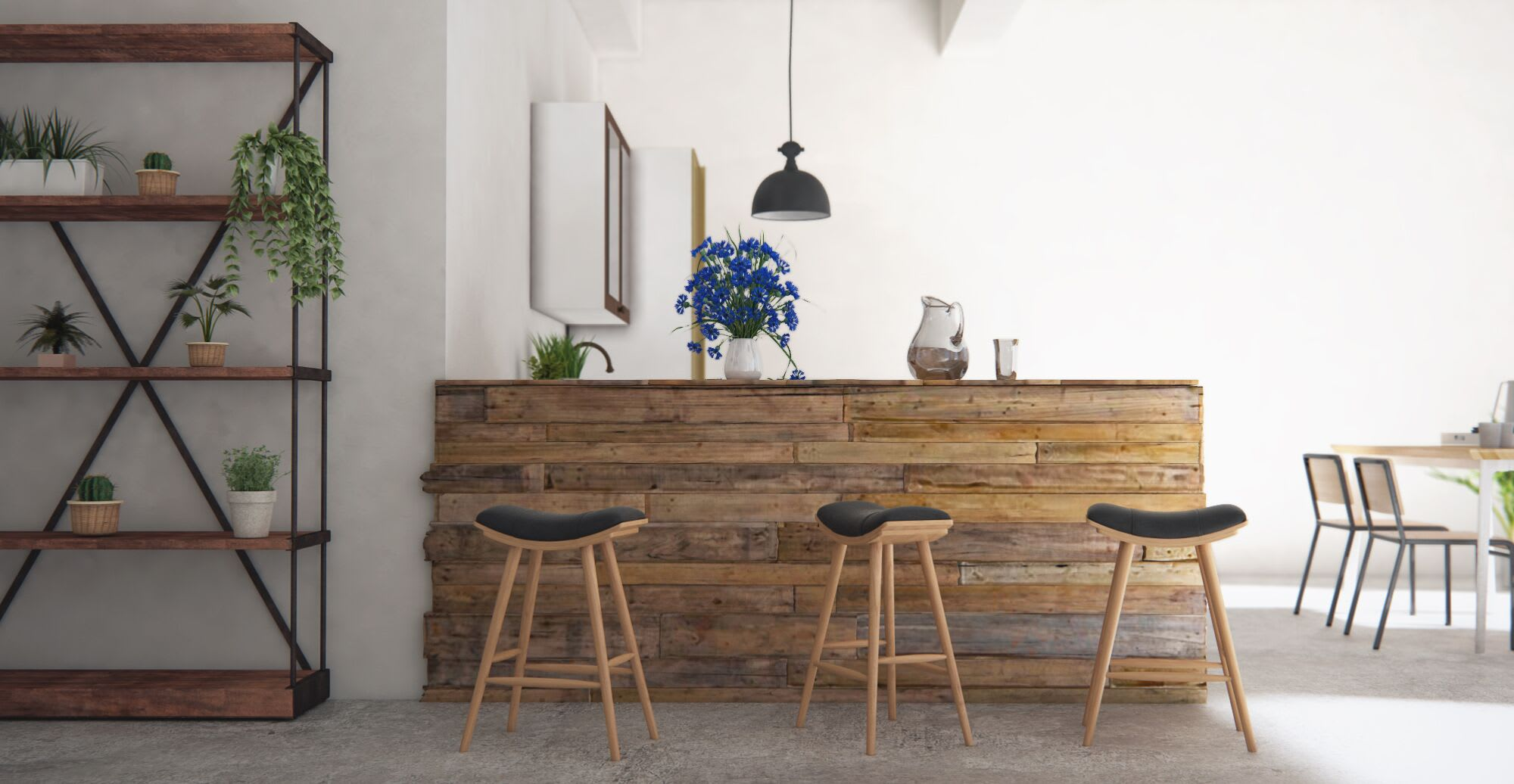 A bar set up in a modern dining room