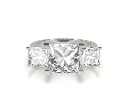 0.50 ct. t.w. K-I3 Princess Cut Basket Three Stone Diamond Engagement Ring