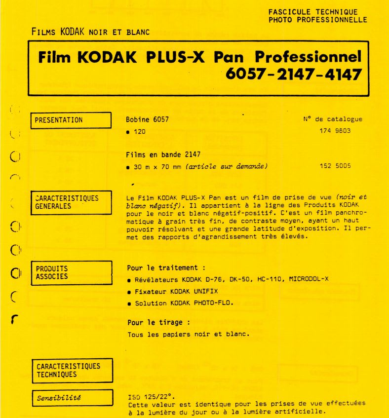 Documentation technique Kodak, pellicules, papiers, chimie.