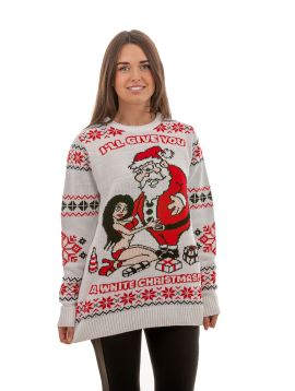 Ugly 'White Christmas' Sweater For Men - Front View