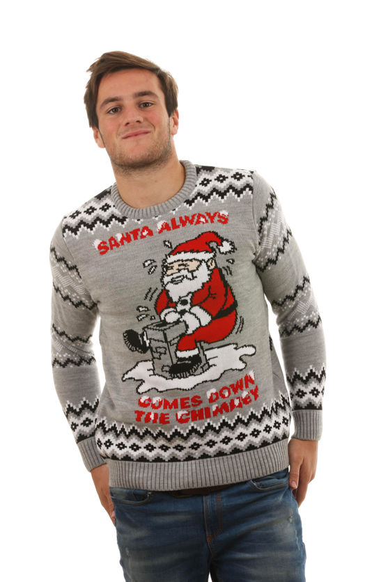 34e07039cb Sale Ugly 'Santa Always Comes Down The Chimney' Sweater For Men - Front View