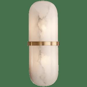 Melange Pill Form Sconce in Antique-Burnished Brass with Alabaster