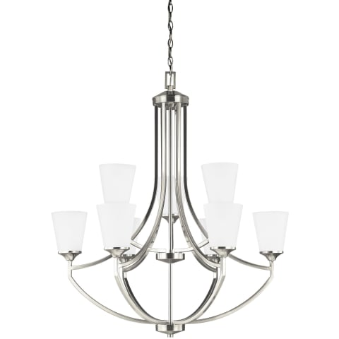 Hanford Nine Light Chandelier Brushed Nickel Bulbs Inc