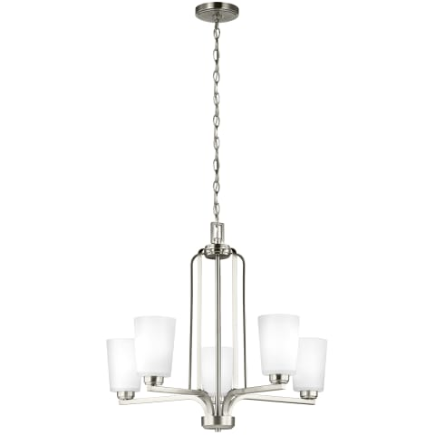 Franport Five Light Chandelier Brushed Nickel