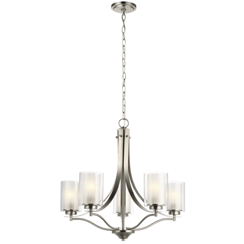 Elmwood Park Five Light Chandelier Brushed Nickel