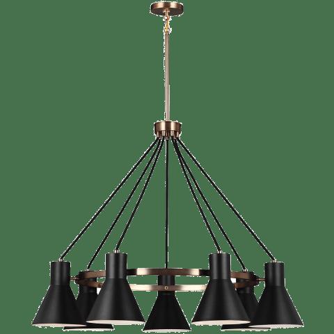 Towner Seven Light Chandelier Satin Brass Bulbs Inc