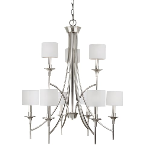 Stirling Nine Light Chandelier  Brushed Nickel