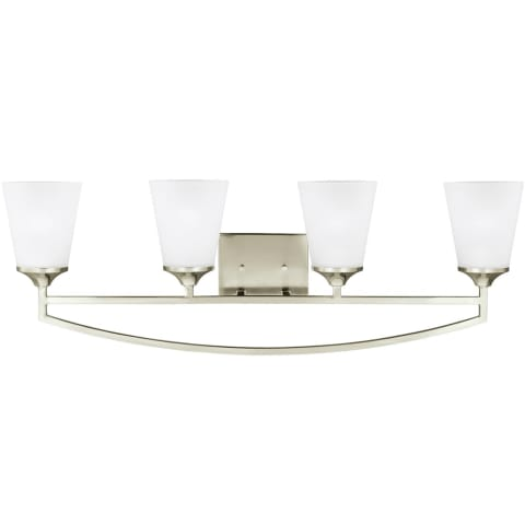 Hanford Four Light Wall / Bath Brushed Nickel Bulbs Inc