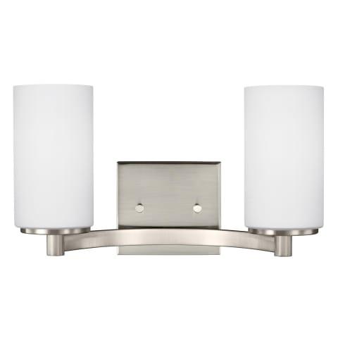 Hettinger Two Light Wall / Bath Brushed Nickel Bulbs Inc