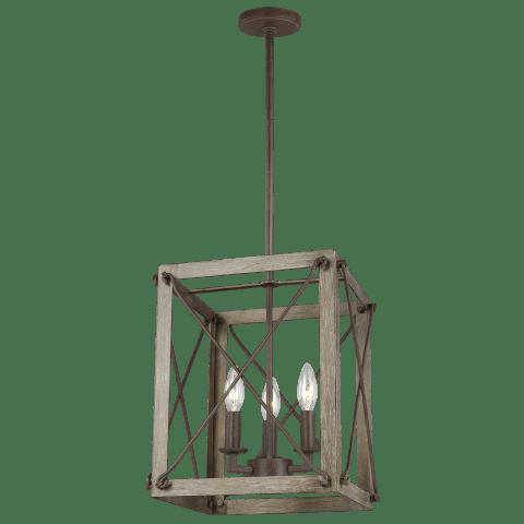 Thornwood Small Three Light Hall / Foyer Washed Pine Bulbs Inc