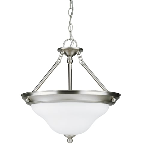 Sussex Three Light Semi-Flush Convertible Pendant Brushed Nickel