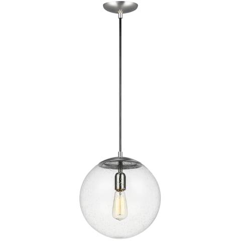 Leo - Hanging Globe One Light Pendant Satin Aluminum