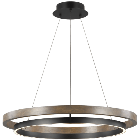 Grace 36 Chandelier matte black/weathered oak wood 3000K 90 CRI integrated led 90cri 3000k 120v (t24)