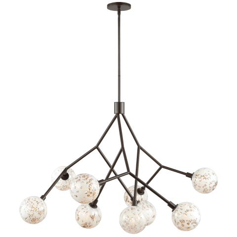 Malena 9 Chandelier Pearl Bubble antique bronze no lamp