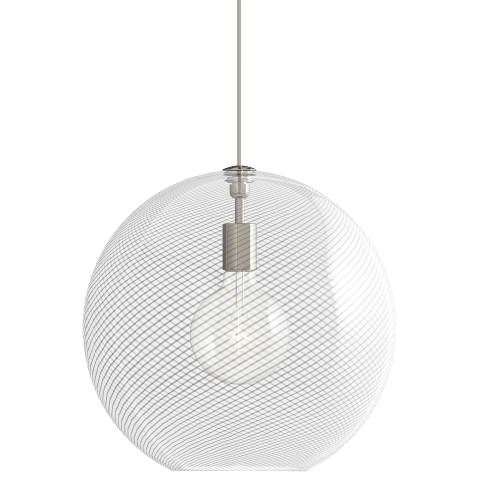 Palestra Large Pendant Opal/Clear satin nickel no lamp
