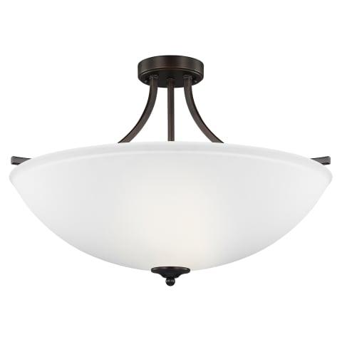 Geary Large Four Light Semi-Flush Convertible Pendant Bronze Bulbs Inc