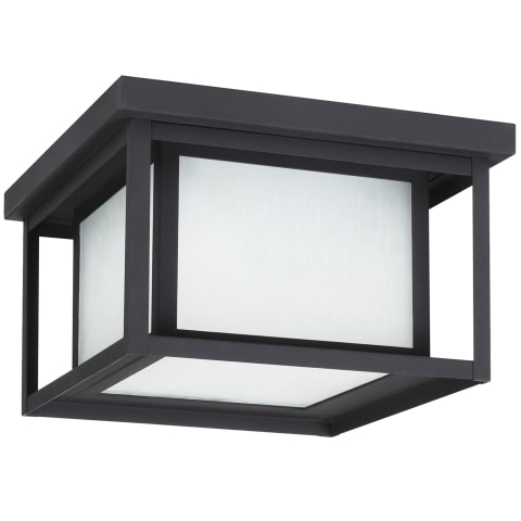 Hunnington Two Light Outdoor Flush Mount Black