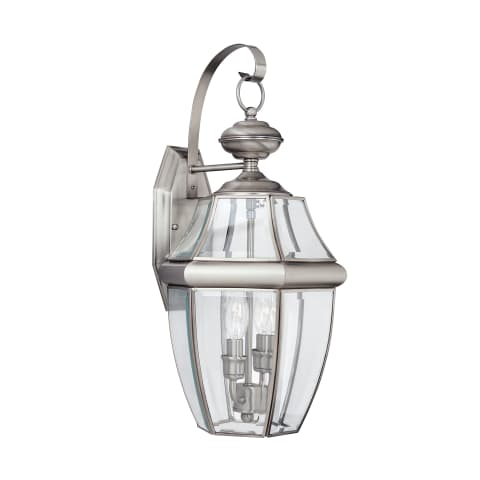 Lancaster Two Light Outdoor Wall Lantern  Antique Brushed Nickel