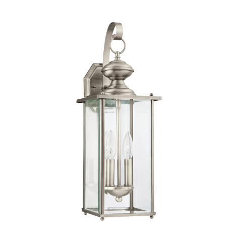 Jamestowne Two Light Outdoor Wall Lantern Antique Brushed Nickel Bulbs Inc