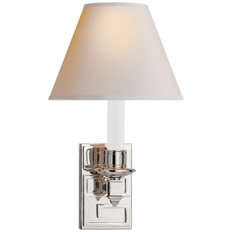 Abbot Library Sconce in Polished Nickel with Natural Paper Shade