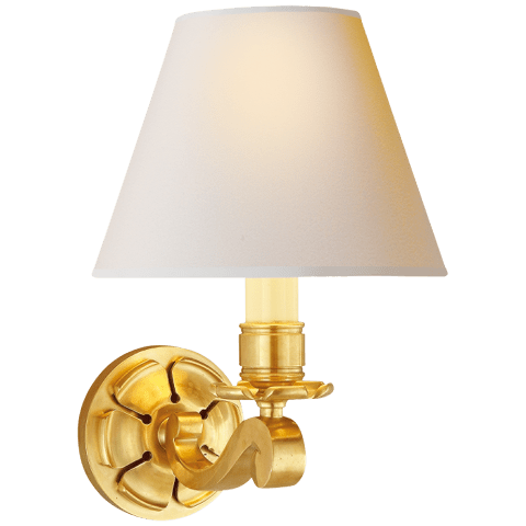 Bing Single Arm Sconce in Natural Brass with Natural Paper Shade