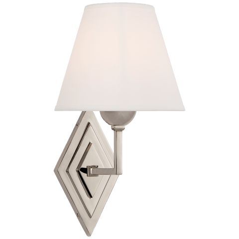 Bettina Single Sconce in Polished Nickel with Natural Percale Shade