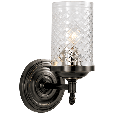 Lita Single Sconce in Bronze with Crystal