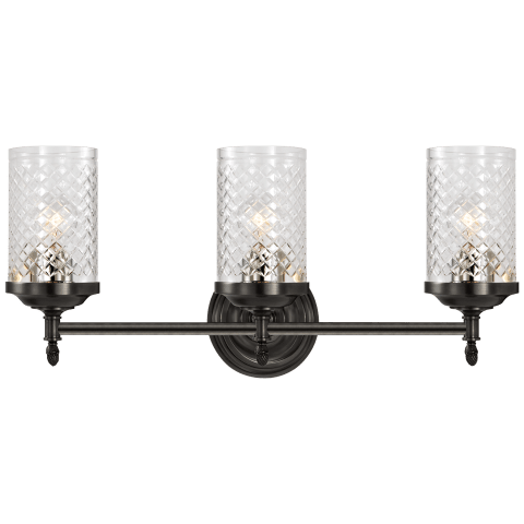 Lita Triple Sconce in Bronze with Crystal