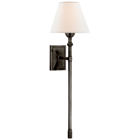 Jane Large Single Tail Sconce in Gun Metal with Linen Shade