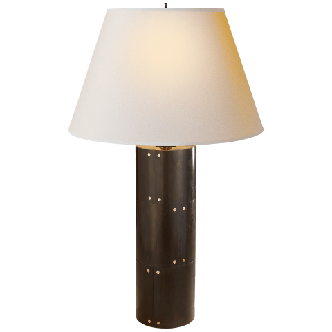 Yul Table Lamp in Gun Metal with Natural Paper Shade