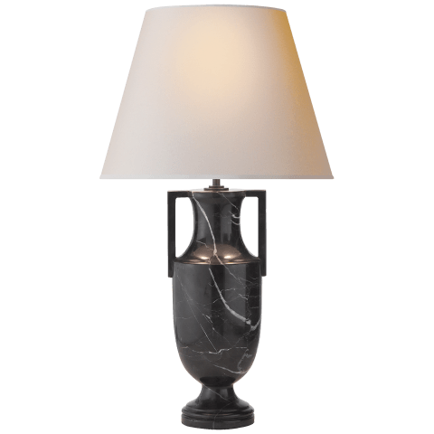 Burt Table Lamp in Black Marble with Natural Paper Shade
