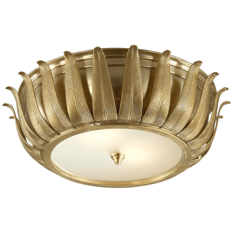 Audrey Flush Mount in Natural Brass with Frosted Glass