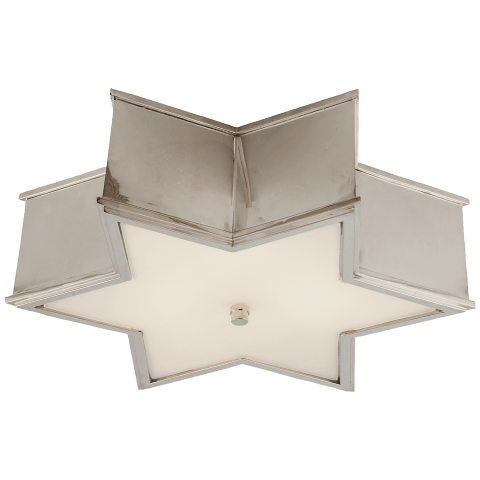 """Sophia 17"""" Flush Mount in Polished Nickel with Frosted Glass"""