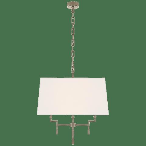 Jane Medium Hanging Shade in Antique Nickel with Linen Shade