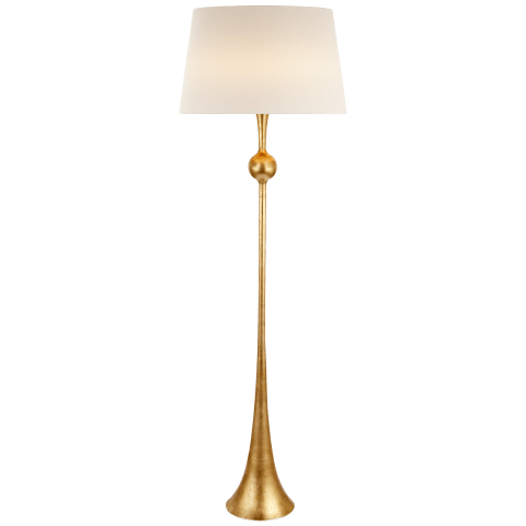 Dover Floor Lamp in Gild with Linen Shade