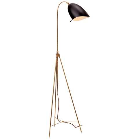 Sommerard Floor Lamp in Hand-Rubbed Antique Brass with Black