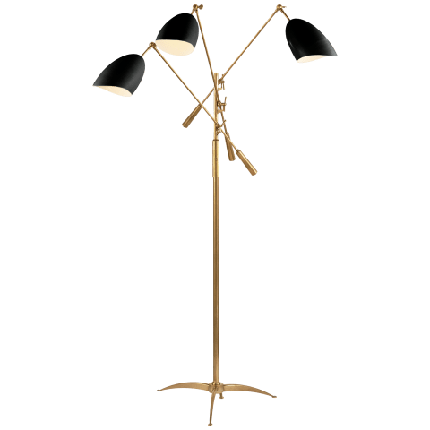 Sommerard Triple Arm Floor Lamp in Hand-Rubbed Antique Brass with White