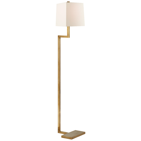 Alander Floor Lamp in Hand-Rubbed Antique Brass with Linen Shade