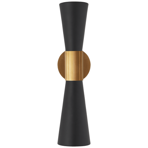 Clarkson Medium Narrow Sconce in Hand-Rubbed Antique Brass and Black