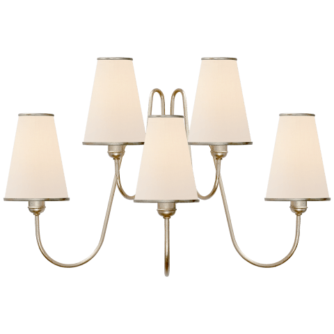 Montreuil Medium Wall Sconce in Burnished Silver Leaf with Linen Shades