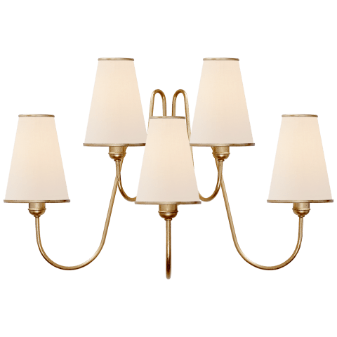 Montreuil Medium Wall Sconce in Gild with Linen Shades