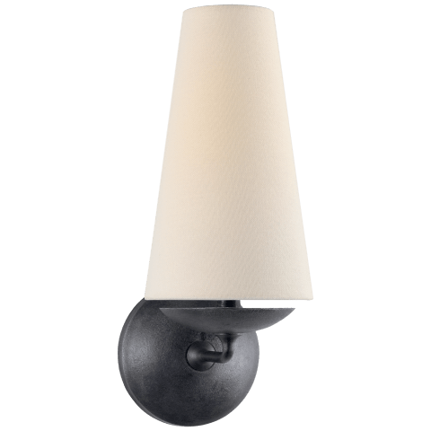 Fontaine Single Sconce in Aged Iron with Linen Shade