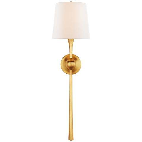 Dover Large Tail Sconce in Gild with Linen Shade