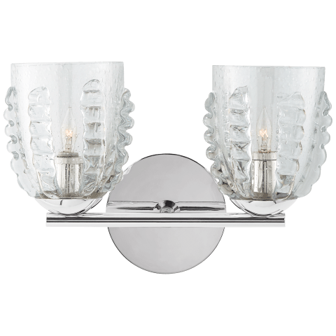 Gisela Double Sconce in Polished Nickel with Seeded Glass