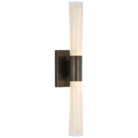 Brenta Single Sconce in Bronze with White Glass