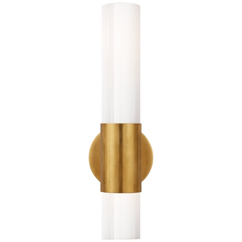 Penz Medium Cylindrical Sconce in Hand-Rubbed Antique Brass with White Glass